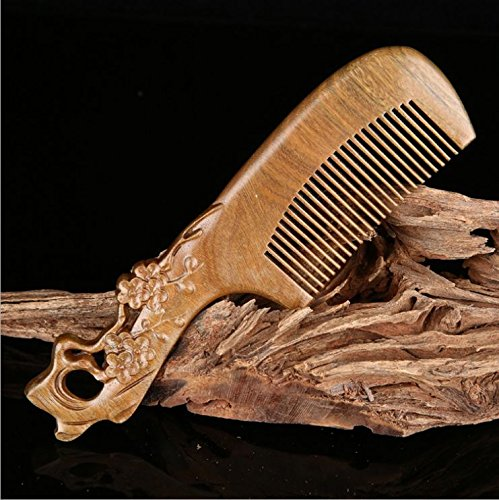 Natural Green Sandalwood Plum flower Carving Carved Fragrant Wooden Comb
