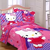 Hello Kitty 9pc Flowers Full Bedding Collection, Comforter Sheet Set Window Panels