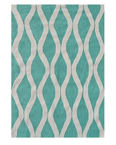 The Rug Market Honeycomb Rug, Turquoise/White, 5′ x 7′