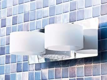 Ausgefallene 2-flammige Badleuchte mit 2x G9 Halogen Badlampe Spiegelleuchte Wandlampe Badezimmer