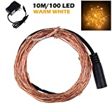 Lemonbest® 10M Copper Wire 100 LED Patio String Light for Indoor Outdoor Xmas Wedding Party Bedroom Decoration Warm White Bulb, With Power Adapter