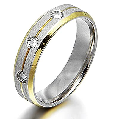 Gemini Groom or Bride 18K Gold Filled CZ Diamonds Promise Wedding Titanium Ring width 4mm