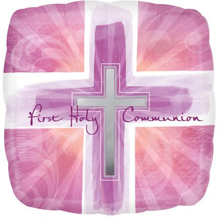18 Inch Joyous Cross Pink Communion Verses Balloons