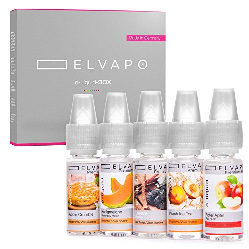5 x 10ml Elvapo E-LIQUID-BOX | Made in Germany | Roter Apfel, Peach Ice Tea, Honigmelone, Apple Crumble, Lakritze | Probierset für E-Zigaretten und E-Shishas | 0mg (ohne Nikotin)