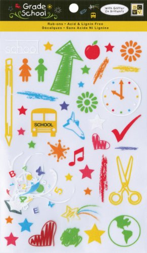 Die Cuts With A View Grade School Rub On Glitter Stickers front-75323