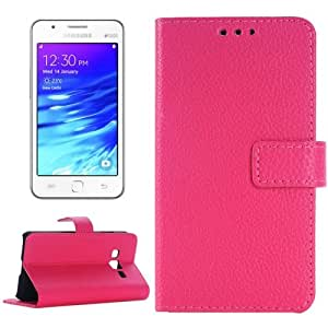 Crazy4Gadget Litchi Texture Horizontal Flip Leather Case with Card Slots & Holder for Samsung Z1/Z130H(Magenta)