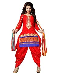Shopping Point Red Cotton Anarkali Unstitched Dress Material