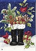 Santa's Boots Christmas House Flag Gingerbread Holly Cardinal Winter Candy Cane