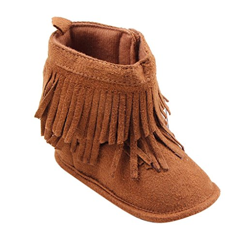 Creazy®Toddler Infant Newborn Baby Girl Shoes Soft Sole Boots Prewalker Tassel (14)