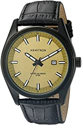 Armitron Men's 20/5087GDTIBK Date Function Dial Black Croco-Grain Leather Strap Watch