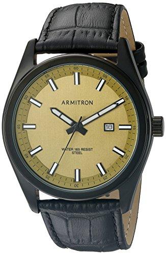 armitron-20-5087gdtibk-del-hombres-fecha-funcion-dial-negro-croco-grain-correa-de-piel-reloj