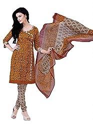 Monika Silk Mill Presents Beautiful Yellow Cotoon Dress Material