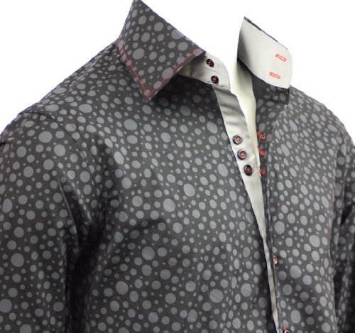 Men's Formal & Casual Italian Design Shirts Gray Circle Pattern Slim Fit S-4XL