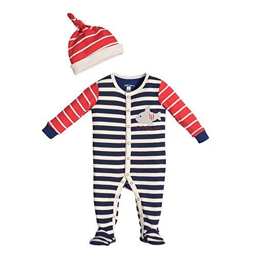 Petit Lem Baby-Boys Newborn Pirat-A-Saurus Baby Sleeper And Hat, Navy Stripe, 9 Months