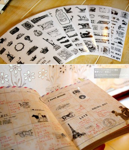 6 Daily Scrapbook Deco Craft Stickers, Travel, Eiffel Tower Black&white, Transparent