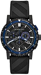 Burberry The City Chronograph Black Dial Black Rubber Mens Watch BU9806