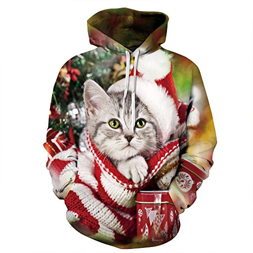 Cfanny Couple Cute 3d Babbo Natale Stampa Ugly tasca Felpa con cappuccio Christmas Cat Large