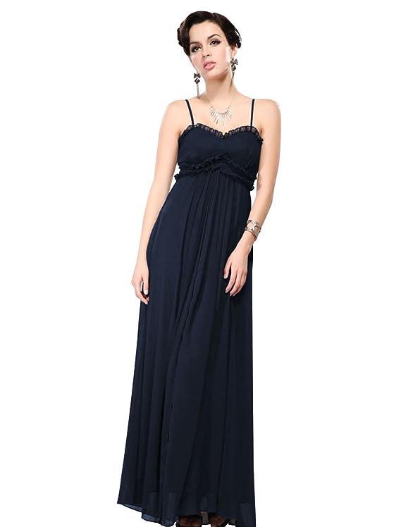 Ever Pretty Ruffle Bust Spaghetti Straps Elastic Formal Maxi Dress 09350