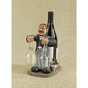 Butler Wine Bottle Holder with Two wine glasses