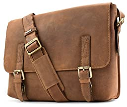 Visconti Wesley Large Distressed Leather Messenger Shoulder Bag Handbag, Tan, One Size