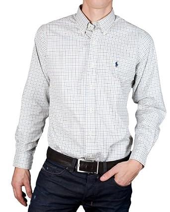 Polo Ralph Lauren - Chemise à Carreaux Petit Poney Bleu Foncé Custom Fit - Homme - (M) Crème