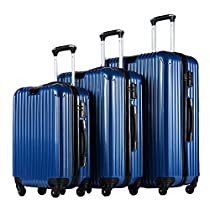 Coolife Luggage 3 Piece Set PC+ABS Spinner Suitcase with TSA Lock 20 inch 24 inch 28 inch Carried on Trunk(blue)