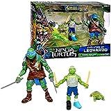 Playmates Year 2014 Teenage Mutant Ninja Turtles TMNT Movie Series 3 Pack Action Figure Set - EVOLUTION OF LEONARDO (Turtle - Teen - Ninja Turtle) Plus 2 Pairs of Swords