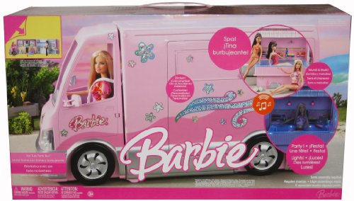 Barbie HOT TUB PARTY BUS Vehicle MOTORHOME VAN with LIGHTS & SOUNDS (Barbie Doll Camper Van compare prices)
