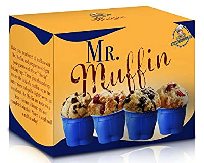 "Set of 6 Mr Muffin - ""Muffin Top"" Bake Cups! These Novelty Jean Shaped Silicone Bake Cups Create a Hilarious ""Muffin Top"" Look As the Batter Rises And Spills Over the Waistband! A Must Have for Fathers Day and The Best Christmas Gifts! Delight Your Guests"