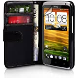 Yousave Accessories HTC One X Case Black PU Leather Wallet Cover With Screen Protector