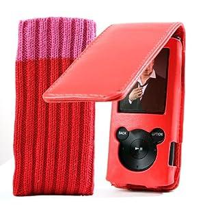 EASYi - Leder Flip Case in Rot für den neuen Sony Walkman E Series 2010/2011 Model 4GB 8GB 16GB (NWZ-E453B NWZ-E454B NWZ-E455B NWZ-E453R NWZ-E454R NWZ-E455R NWZ-E453P NWZ-E454P NWZ-E455P NWZ-E464B)