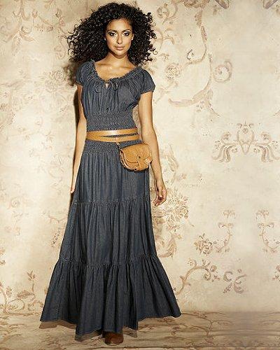 8c1571ffe1 Dresses  Newport News Jeanology Denim Peasant Dress (Misses 6 VINTAGE BLACK)