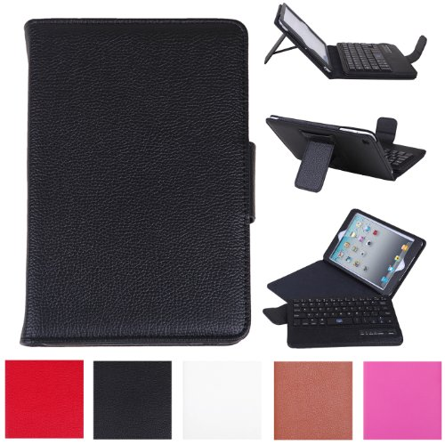 Hde Leather Folding Folio Case Cover & Stand W/ Keyboard For Ipad Mini (Black)