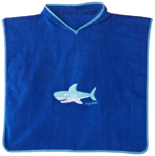 Playshoes Boys Shark Collection Cotton Hooded Bath Poncho (Small)