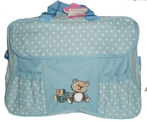 blue polka dot baby Change bag with bottle holder & change mat