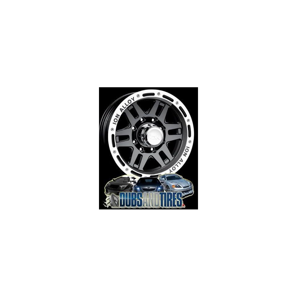 16 Inch 16x10 Ion Alloy wheels STYLE 133 Black w/ Machined Lip wheels rims