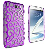 Lumii Ark Electroplating Hollow Chrome Pattern Design Back Cover PC Case for Samsung Galaxy Note 2 / N7100- Purple
