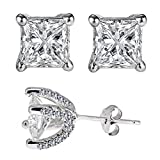 Designer Inspired Sterling Silver 925 Earrings 3.00 Carat Diamond Simulated Princess Cut Stones Set in Heavy Handmade and Handset Pave Settings
