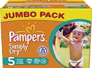 Pampers - 81268029 - Simply Dry Couches - Taille 5 Junior - Jumbopack - Lot de 2 X 68 Couches