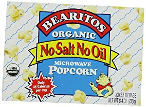 Bearitos Organic Microwave Popcorn, No Salt No Oil, 3 Count (Pack of 12)