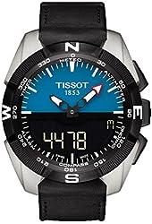 Tissot Men's Swiss Quartz Titanium and Black Leather Casual Watch (Model: T0914204604100)