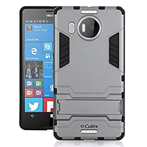 Cubix Robot Series Case Cover for Microsoft Lumia 950 XL Dual SIM (Grey) Scratch Free Slim Hybrid Defender Bumper shock proof Case Cover With Stand