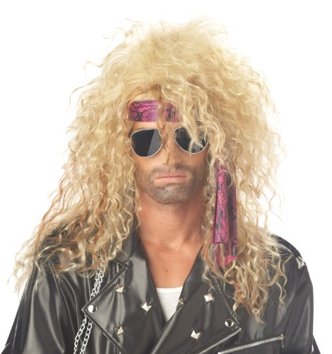 Men's 1980s Heavy Metal Wig by California Costumes. Blonde or Black.