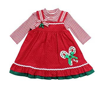 Rare Editions Baby-Girls Infant Candy Cane Applique Corduroy Jumper Dress, Red, 24 Months