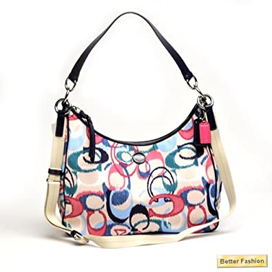 Coach Signature Stripe Ikat Print Convertible Hobo F24452