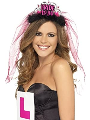 Smiffy's Bride To Be Tiara with Veil with Lettering (Black/ Pink)