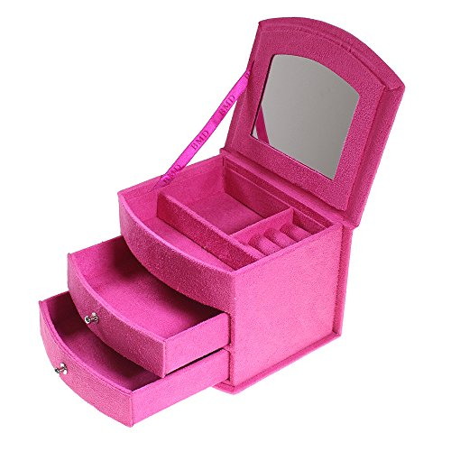 Luxury Hot Pink Suede Velvet Jewelry Jewellery Storage Box With Lid And Draws By Kurtzy Tm front-97264