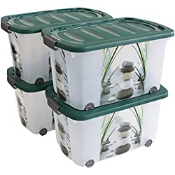 Aufbewahrungsbox leicht robust stapelbar 45 Liter - 4 Stück