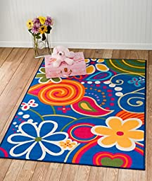 Whimsical Kids Area Rug -4\'x6\' Actual RUG Size Is 3\'.10\'\'x5\'.6\'\' Nice Size - Printed Area Rug with Non Skid Backing 47 Inch X 65 Inch
