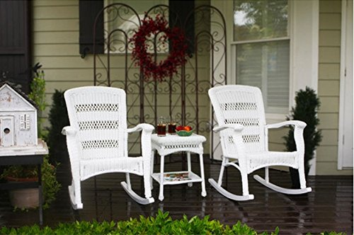 Corrigan 3 Piece Deck and Patio Seating Made with Weather Resistant Resin Wicker (White)